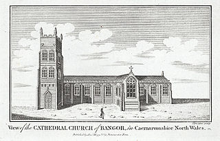 View of the Cathedral Church of Bangor, in Caernarvon. North Wales