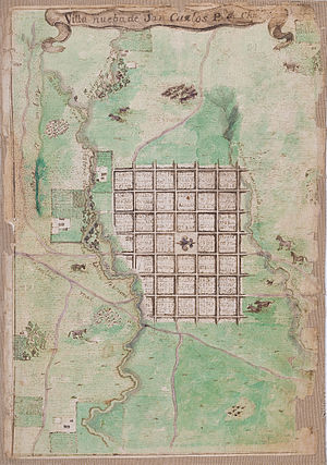 San Carlos, Chile - Map of the foundation of San Carlos in 1805