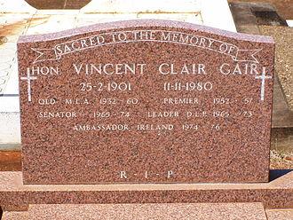 Vince Gair - Vince Gair's headstone at Brisbane's Nudgee Cemetery.