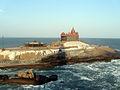 Vivekananda Rock as seen from Tiruvalluvar statue.JPG