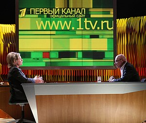 "Vladimir Posner - Vladimir Pozner interviews U.S. Secretary of State Hillary Rodham Clinton on the ""Pozner Show"" in Moscow, March 19, 2010"
