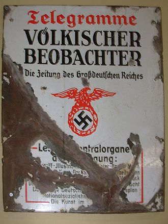Völkischer Beobachter - Metal advertising sign for the Völkischer Beobachter