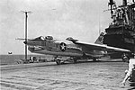 Vought F-8A Crusader of VF-211 is launched from USS Hancock (CVA-19), in 1963.jpg