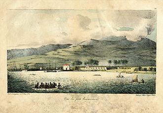 Joseph John Chapman - 1816 painting of Hawaii, with sailing ships at anchor