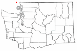 Red dot (above) indicates location of Point Roberts, west of contiguous Whatcom County and the rest of Washington State.