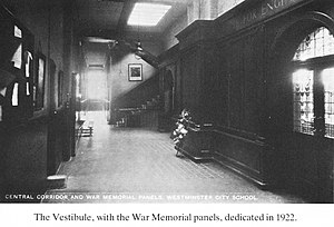 Westminster City School - The vestibule 1922