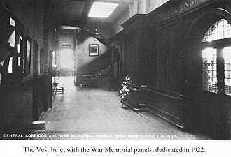 Westminster City School - The vestibule 1922