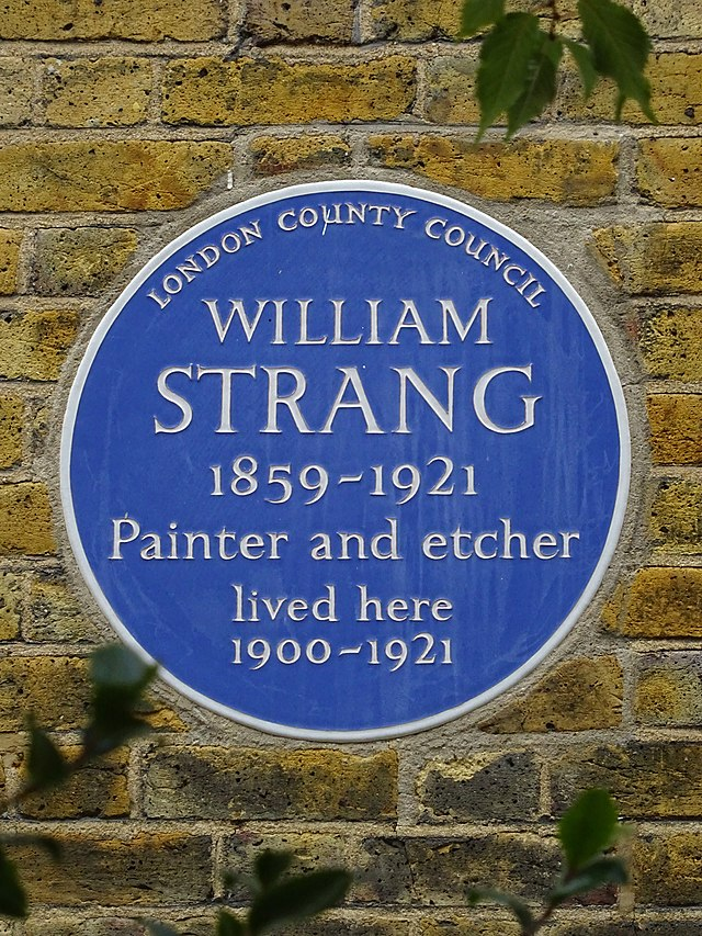 William Strang blue plaque - William Strang 1859-1921 painter and etcher lived here 1900-1921