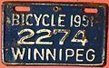 WINNIPEG, MANITOBA 1951 -BICYCLE PLATE - Flickr - woody1778a.jpg