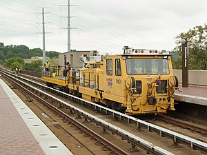 Work train - A Washington Metro work car in Virginia providing support for a track maintenance operation
