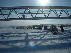 Koetoi River - Ice fishing at Wakasagi. (January 2004)