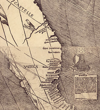 "Waldseemüller map - Detail of the map showing the name ""America""."