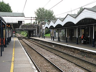 Chingford branch line - Walthamstow Central station with original GER style platform awnings
