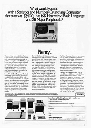 Wang 2200 - A 1974 advertisement for the Wang 2200 Computer