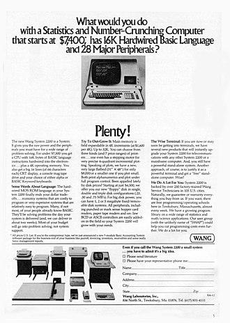 Wang 2200 - A 1974 advertisement for the Wang 2200 Computer