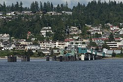 The Washington State Ferries terminal and downtown Edmonds, seen from offshore