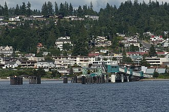 Edmonds, Washington - The Washington State Ferries terminal and downtown Edmonds, seen from offshore