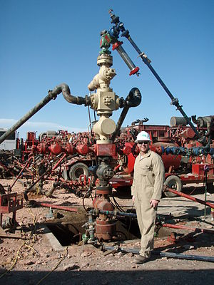 Hydraulic fracturing - Well head where fluids are injected into the ground