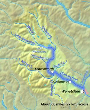 Wenatchee River - Image: Wenatcheerivermap
