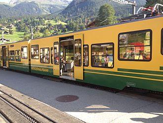 Wengernalp Railway - A train waits at Grindelwald Grund.