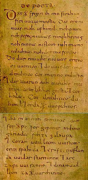Wessobrunn Prayer - Manuscript of the Wessobrunner Gebet