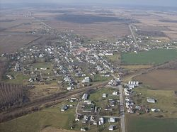 Aerial view of West Mansfield from the east