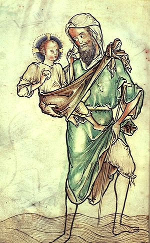Westminster Psalter - St Christopher carrying the Christ-Child, f 220v, perhaps the first such image in English art