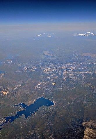 Whiskeytown Lake - Aerial view of Whiskeytown Lake and Redding, California