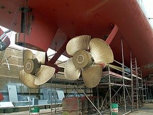 Wielinge propellors in Drydock p6, Antwerp, Belgium.JPG