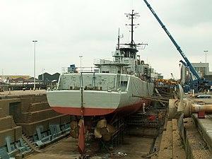 Wielinge stern at SKB Drydock p6, Antwerp, Belgium.JPG