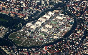 Theresienwiese - The annual Oktoberfest fairground at Theresienwiese in Munich, aerial view