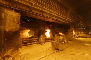 Reverberatory furnace - Reverberatory furnace for copper at UMMC factory in Russia