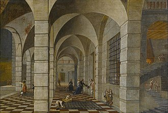 Hieronymus Janssens - Dungeon interior with elegant figures, with Wilhelm Schubert van Ehrenberg