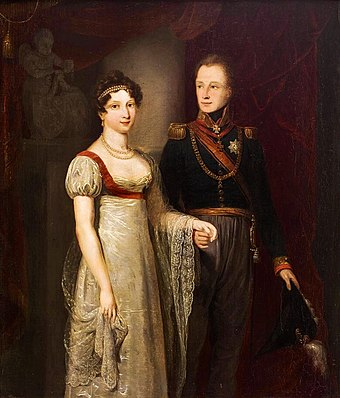 Portrait of William II and Anna Pavlovna (1816) by Jan Willem Pieneman Willem II anna paulowna.jpg