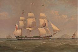 William Clark: The Black Ball Line Packet Ship 'New York' off Ailsa Craig