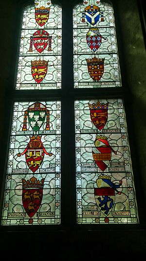 Winchester Castle - An armorial window in the Great Hall