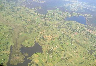 Wingecarribee River - The brown on the left is Wingecarribee Swamp with Fitzroy Falls Reservoir on the right.