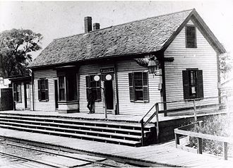 Gilman Square station - 1880s photograph of the first Winter Hill station, located at Gilman Square