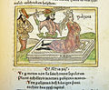 Woodcut illustration of the sacrifice of Polyxena by Neoptolemus at the tomb of Achilles - Penn Provenance Project.jpg