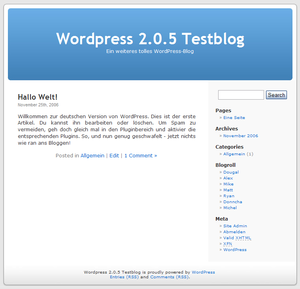 Deutsch: Screenshot vom Blog-System WordPress.