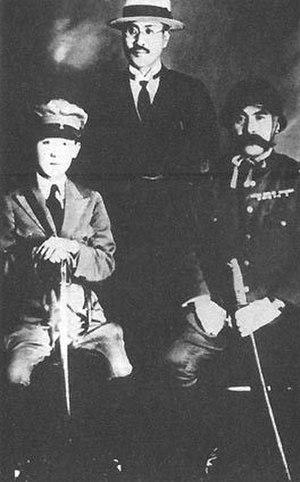 Yoshiko Kawashima - Kawashima (left) with Kawashima Naniwa (centre) and Tanaka Ryukichi (right), 1933