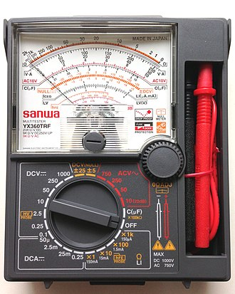Multimeter - An analog multimeter, the Sanwa YX360TRF