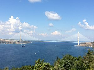 Yavuz Sultan Selim Bridge - View from the Yoros Castle, September 2016