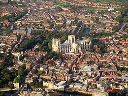 An aerial view o York, wi York Minster in the centre