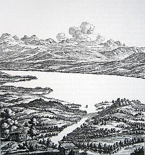 Zürich - Johann Balthasar Bullinger's imagining of Zürich in Roman times (engraving 1773)