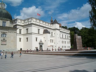 Palace of the Grand Dukes of Lithuania - The Palace of the Grand Dukes flying the historical Vytis flag