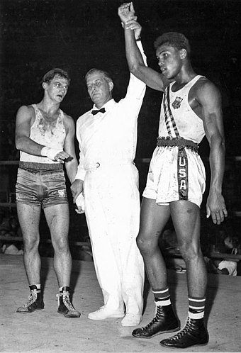 1960 Olympians: Ali won gold against Zbigniew Pietrzykowski (1956 and 1964 bronze medalist). Zbigniew Pietrzykowski and Muhammad Ali 1960.jpg