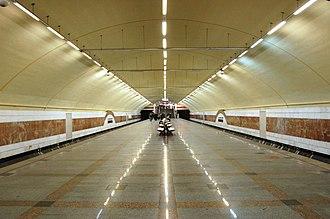 Zhytomyrska (Kiev Metro) - Image: Zhytomyrska metro station Kiev 2010 01