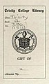 """Trinity College Library"" Bookplate detail, from- Trinity ivy yearbook 1911 (page 2 crop).jpg"