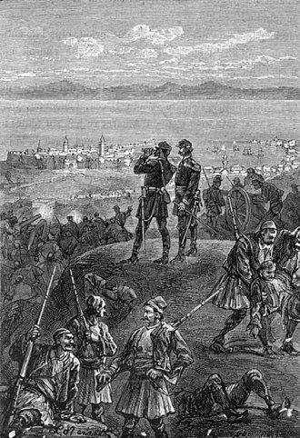 Chios expedition - The siege of Chios, illustration from The Archipelago on Fire